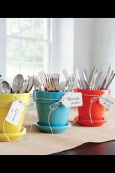 BBQ idea, easy silverware access for a big summer event!
