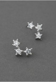 Triplet Crystal Star Earrings - Retro, Indie and Unique Fashion