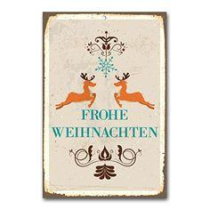 """weihnachtliche Wanddekoration Blechschild """"frohe Weihnachten"""" / ca. 30x45 cm / Weihnachtsdeko / vintage Cuadros Lifestyle http://www.amazon.de/dp/B00PAJCS10/ref=cm_sw_r_pi_dp_X5Yyub0D52572"""