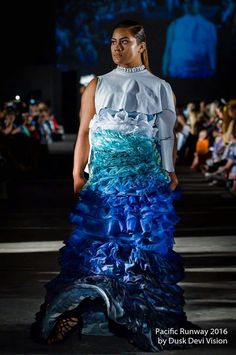 601293bca Wearable art featured at Pacific Runway 2016 gown made of recycled  materials inspired by Climate disaster Tsunami. OFF2WAR CLOTHING