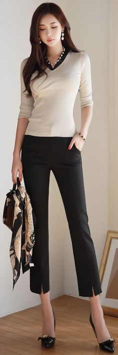 StyleOnme_Premium Front Slit Ankle-length Slacks #black #slacks #koreanfashion #kstyle #kfashion #springtrend #dailylook