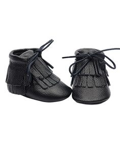 This Black Leather Double-Fringe Ankle Boot is perfect! #zulilyfinds