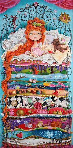 10 Fairy Tales by Rita Vjodorowa acrylic on linnen cm… Hans Christian, Pinterest Arte, Branch Art, Princess And The Pea, Kids Canvas, Fairytale Art, Paintings I Love, Illustrations, Whimsical Art