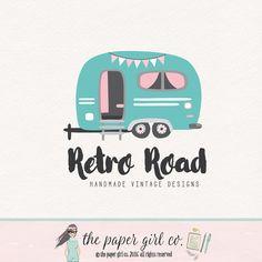 Vintage Camper Logo Caravan Design Pop Up Shop Boho Chic Photography Party Premade Event Planner