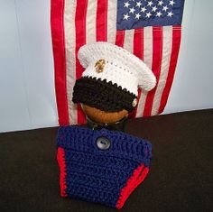 Military Dress Blues Hat Crochet Pattern by Carolyn VanOstran. Can be purchased at Ravelry. Diaper cover is not included but easily made from any other diaper cover pattern. Crochet For Boys, Crochet Baby, Crochet Children, Baby Patterns, Crochet Patterns, Crochet Ideas, Crochet Crafts, Crochet Projects, Firefighters
