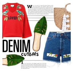 """""""Denim Cutoffs"""" by katerin4e-d ❤ liked on Polyvore featuring Off-White, Gucci, JADE TRIBE and Charlotte Olympia"""
