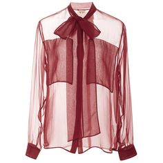 No. 21 Ines Tie-Neck Chiffon Shirt in Berry (1.740 NOK) ❤ liked on Polyvore featuring tops, blouses, shirts, berry, shirt blouse, red shirt, red chiffon blouse, see through blouse and chiffon blouse