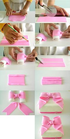 Fondant Ribbon (might use for a baby shower cake) (Pour Cake Tutorial) Fondant Bow Tutorial, Fondant Tips, Fondant Icing, Fondant Baby, Fondant Cake Designs, Fondant Recipes, Fondant Figures Tutorial, Marshmallow Fondant, Cake Recipes