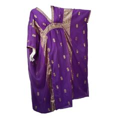 May and Co. 1960's Gorgeous Gold and Purple Caftan   From a collection of rare vintage evening dresses at https://www.1stdibs.com/fashion/clothing/evening-dresses/