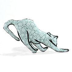 cat stretching shaped small pillow kitty softie by pattihaskins
