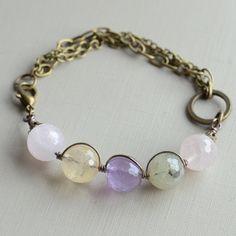 Lovestruck Faceted Multi Quartz Gemstone with Antique Bronze Chain Bracelet £12.50