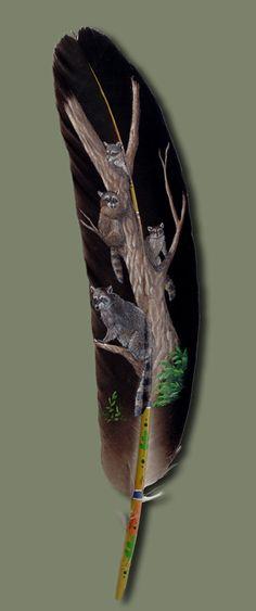 Raccoon Feather Art   www.facebook.com/loveswish