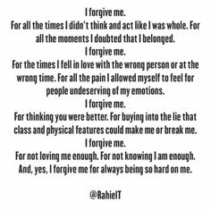 Self forgiveness is a radical act Forgiveness Lesson, Radical Forgiveness, Radical Acceptance, Forgiveness Quotes, Prayer Quotes, Detachment Quotes, Motivational Messages, Inspirational Quotes, Self Love Qoutes