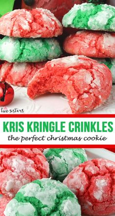 Kris Kringle Crinkles - the perfect Christmas Cookie!  A yummy red and green homemade Crinkle Christmas Cookies recipe that is not made from a cake mix? Yes, please! This classic Christmas cookie recipe is a keeper. #ChristmasCookies #ChristmasCookie #ChristmasCookieRecipe #ChristmasCookieExchange