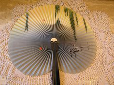 Vintage Paper Fan With Swans and Hanging Tree Branches,  Collector's Item, by SterlingHeirloom on Etsy