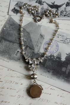 RESERVED for Mimi-Abundant Blessings-Vintage assemblage necklace pendant locket pearls assemblage jewelry F31-by French Feather Designs. on Etsy, $119.00