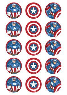 Cupcakes Capitan America, Captain America Cupcakes, Captain America Party, Captain America Birthday, Captain America Sheild, Superhero Symbols, Avengers Tattoo, Superhero Birthday Party, Batman