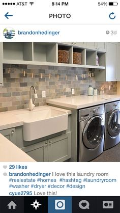 I love the little clothes line above the washer/dryer. So cute! Imagine lost socks hanging on it. :)