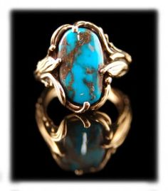 Bisbee Turquoise and Gold Ring by Crystal Hartman