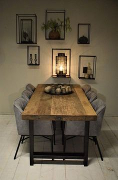 Best Dining Room Wall Decor Ideas 2018 (Modern & Contemporary Pictures) Baha dining table made from old teak planks combined with black steel legs. Now at Kötter Wonen Oldenzaal. Dining Room Wall Decor, Dining Room Design, Diningroom Decor, Dinning Room Furniture Ideas, Furniture Design, Bedroom Decor, Dinner Room, Dinner Ware, Best Dining