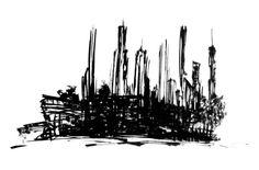 Black City Design by Federico Poletti  #sketch #blackink #city