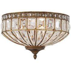 "Ibeza 15 1/2"" Wide 3-Light Crystal Mocha Ceiling Light"