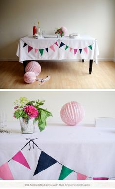 "@Kayci Nelson, here's another cute bunting idea! Paint it on a table cloth for celebrations. Centsational girl had the idea of doing one in fall colors, with ""Give Thanks"" painted on the top. :)"