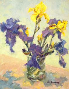 Iris Shadows Purple Yellow Spring Flowers Original Oil Floral Still Life Painting Romantic Wall Art