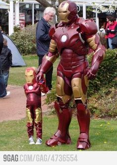 Dad and kid dressed up like Iron Man. Awesome.