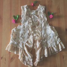 56ef64a045317 A lovely Dainty Cream crochet boho vest top with mesh on the back and  chiffon frills