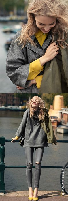 This flannel gray pullover is the piece that does it all for fall. Gray and yellow work flawlessly when gray distressed denim shares the spotlight with yellow accessories. Cozy. Cool. Chic.