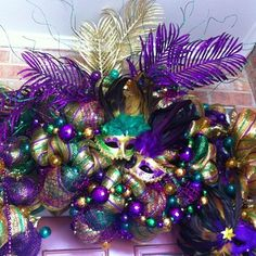 Mardi Gras mesh wreath!! Order from ChicAffair on Etsy!!