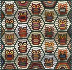 's Quiltgartl: Next century project Patchwork Hexagonal, Hexagon Quilt Pattern, Patchwork Patterns, Quilt Block Patterns, Quilt Blocks, Hexagon Quilting, Hand Quilting, Owl Quilts, Bird Quilt