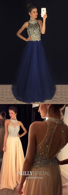 Long Prom Dresses For Teenagers,Red Formal Evening Dresses A-line,High Neck Chiffon Pageant Graduation Dresses with Beading,Tulle Wedding Party Dresses Sparkly #MillyBridal #reddress #promdress #pageantdress