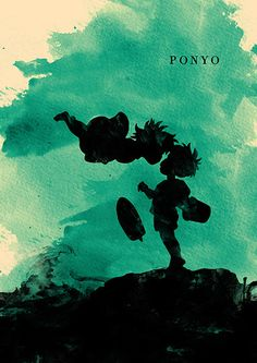 Ponyo Hayao Miyazaki Minimalist Movie Poster by moonposter on Etsy Hayao Miyazaki, Studio Ghibli Films, Art Studio Ghibli, Totoro, Desu Desu, Animation 3d, Graffiti Tattoo, Illustrator, Illustration Mode