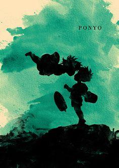Cartel de película minimalista de Hayao Miyazaki por moonposter