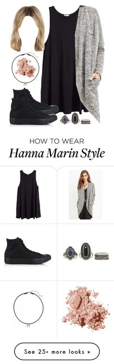 """""""Edgy Hanna Marin inspired outfit with all black Converse sneakers"""" by liarsstyle on Polyvore featuring H&M, Forever 21, Converse, Dogeared and Bobbi Brown Cosmetics"""