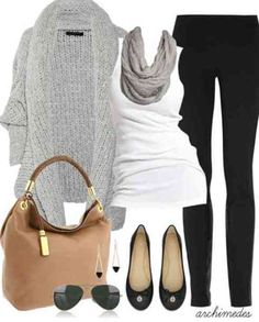 Love the heather grey sweater and leggings.  .....maybe wear to breakfast with friends.