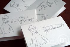 Marrygrams makes beautiful wedding paper products! Will You Be My Bridesmaid Card Thin Style with Dress #marrygrams