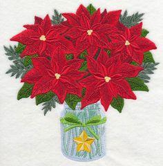 Poinsettias in Mason Jar design (K3660) from www.Emblibrary.com