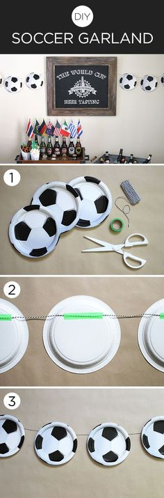 Get in the #WorldCup spirit by making this #DIY soccer ball garland with supplies from /birthdayexpress/.