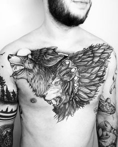 Wolf Tattoos are chosen by exceptionally strong individuals, who are always prepared to defend their beliefs. Best Wolf Tattoo Ideas for Men and Women. Badass Tattoos, Sexy Tattoos, Unique Tattoos, Beautiful Tattoos, Body Art Tattoos, Tattoos For Guys, Sleeve Tattoos, Wolf Tattoos, Animal Tattoos