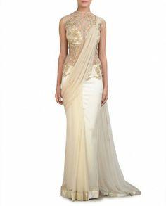 Ivory Sari Gown- Buy Saris,Gaurav Gupta - Lakme Gupta - Lakme Best of March Online Indian Wedding Sari, Saree Wedding, Wedding Dresses, Bridal Sarees, Pakistani Bridal, Indian Dresses, Indian Outfits, Indian Clothes, Pakistani Dresses