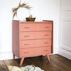 Commode vintage Beige rosé · Trendy Little Deco Furniture, Upcycled Furniture, Home Furniture, Orange Home Decor, Orange House, Mid Century Decor, Best Interior Design, Home Staging, Sweet Home