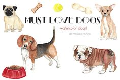 Watercolor Clip Art - Must Love Dogs by Maria B. Paints on Creative Market