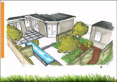 Tuinontwerp - Schetsontwerp - Tuin aanzicht / 3d garden view