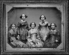 Clark sisters, five women, three-quarter length portraits, all facing front. Grandmother and aunts of photographer Frances Benjamin Johnston. Image created arond 1850 on half plate daguerreotype. Phot