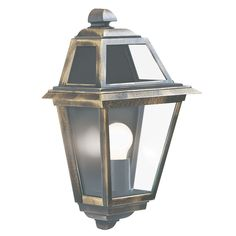 Searchlight 1523 New Orleans IP44 Black & Gold Outdoor Wall Light Clear…