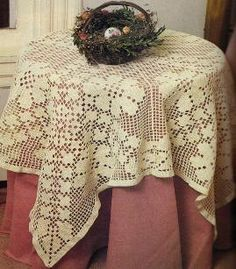 Haven't done this style of crochet in years - sure is pretty. http://www.momsloveofcrochet.com/RoseFiletTablecloth.html