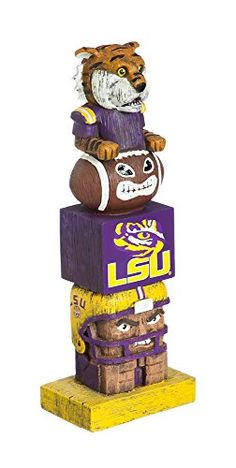 NCAA LSU Tigers Tiki Totem  Measures approximately 5.5-inches by 16-inches  Sculpted from 100% Resin with Hand-painted Wood-Carving Details  Decorated with Team Colors and Graphics  Officially Licensed by the National Collegiate Athletic Association  Decorate Your Home or Yard with this Fun Tiki Totem!